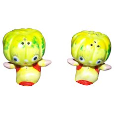 Sweet Tiny Melon Head Hand Painted Anthropomorphic Salt & Pepper Spice Shakers JAPAN