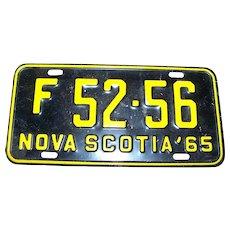 Vintage 1965 F 52-56 Nova Scotia Black & Yellow Metal License Plate
