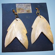Vintage Hand Made  MOP Mother of Pearl Pierced Style Dangle Earrings  Carved Accents