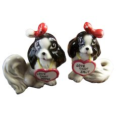 Sweet Vintage Love That Salt & Pepper Puppy Dog Spice Shakers  Japan
