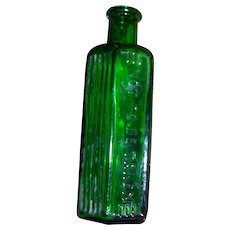 VTG Green NOT TO BE TAKEN Poison Bottle with Warning Ridges 4oz EMPTY