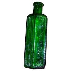 VTG Green NOT TO BE TAKEN Poison Bottle with Warning Ridges 4oz EMPTY