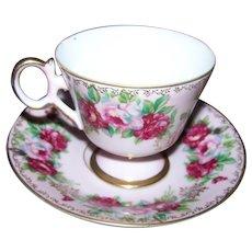 Pretty Rose Floral Theme  Castle Japan Tea Cup  Teacup & Saucer Set Pale Pink Ground