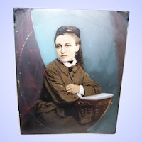 Vintage Painted TinType Photograph of a Pretty Young Woman As Found Unframed