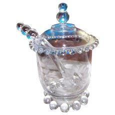 Imperial Candlewick Hughes Cornflower Elegant Glassware   Jam Jar Pot with Glass Spoon