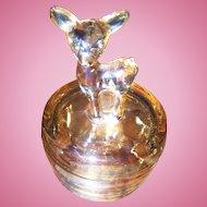 Vintage Marigold Carnival Glass Woodland Deer Powder Dish Jeanette Glass Company USA