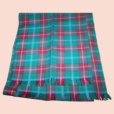 Vintage Hand Woven Offical Manitoba Tartan Fringed Wool Scarf