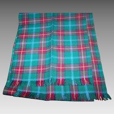 Vintage Hand Woven Offical Manitoba Tartan Fringed Wool Scarf