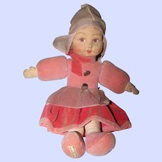 Vintage Collectible  Cloth 13 Inch Dutch Doll by Norah Wellings  Made In England