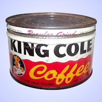 Vintage KING Cole Coffee Advertising Tin One Half Pound Size BARBOUR Co Saint John N.B. Canada