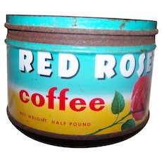 Half Pound Size Advertising Empty Tin Litho Coffee Can Tin RED ROSE Brooke Bond Canada