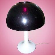 FUNKY Retro 1970's Era Plastic Purple and White Mushroom Desk Table Lamp