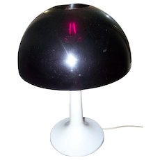 FUNKY Retro 1970's Era Plastic Purple and White Mushroom Desk Table Lamp