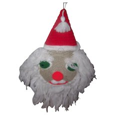 A Wonderful Vintage Large Crochet Hand Crafted Santa Claus  Door Knob Hanger 11 inches by 24 inches