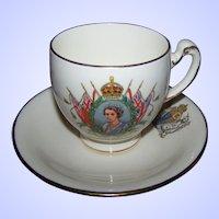Vintage Royalty  Souvenir Royal Winton Tea Cup Saucer Set Queen Elizabeth 1953