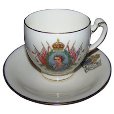 Vintage Royalty  Souvenir Royal Winton Tea Cup Saucer Set Queen Elizabeth 1953