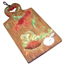 Hand Painted Wall Plaque Cutting Board Lobster Clam Scallop Seafood Themed