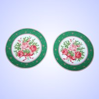 "2 VTG Lefton China Rose Floral Themed 8 "" Plates 07671 Home Decor Accent"