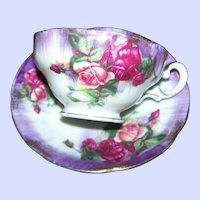 Beautiful Vintage Rose Floral Pattern Teacup Teacup Saucer Set MIJ