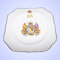 Collectible Royalty Portrait Plate Coronation June 2nd 1953 H.M. Queen Elizabeth II  Old English Johnson Bros MI England