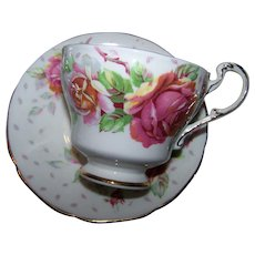 A Sweet Double Paragon  By Appointment England REGD Royal Emblem Rose Floral Teacup & Saucer