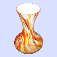 Bright & Cheerful Encased End of Day Orange Yellow Blue Green White Art Glass Vase