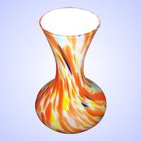 Bright & Cheerful Encased End of Day Orange Yellow Blue Green White Art Glass Vase