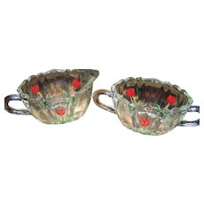 A Pretty Hand Painted Glass Creamer &  Open Sugar Bowl Featuring Red Tulips