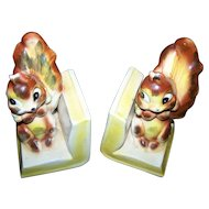 Sweet Vintage Figural Ceramic Squirrel Bookends Made in Japan