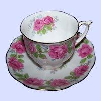 Pretty   Lady Alexander Rose Themed Tea Cup & Saucer Set Queen Ann Fine Bone China England
