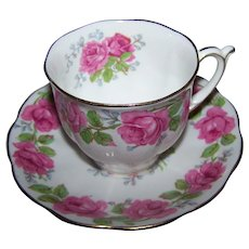 Pretty   Lady Alexander Rose Themed Tea Cup & Saucer Set Queen Ann Fine Bone China England