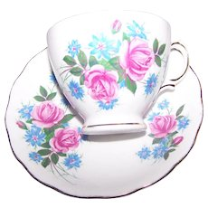A Pretty Vintage  Royal Vale England  Mixed Floral Pink Rose Teacup & Saucer