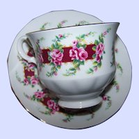 Pink Rose Floral Themed Tea Cup & Saucer Set  Queen Anne  Bone China Made In England