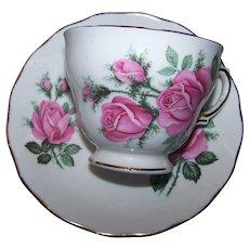 Pink Rose Floral Pattern Royal Vale  Bone China MI England Teacup & Saucer Set