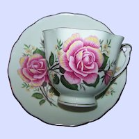 Pretty Pink Rose Floral Themed Colclough Bone China Made In England Teacup & Saucer