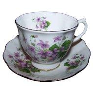 Sweet Royal Albert Purple Floral Tea Cup & Saucer Set England