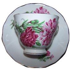 retty Pink Carnation Floral Themed Royal Vale Tea Cup & Saucer Set Bone China MI England