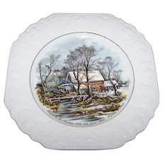 Currier & Lives Scenic Decorative Plate Winter in the Country  The Olf Grist Mill By Lord Nelson Pottery