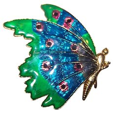 A Pretty Vintage Enamel Butterfly Insect Brooch Pin Fashion Accessory