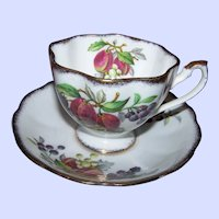 Fruit Series Queen Anne Fine Bone China England Tea Cup & Saucer Set