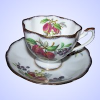 Fruit Series Queen Anne Fine Bone China England Tea Cup & Saucer Set