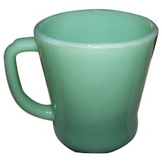 Mid-Century Green Glass Jadite Mug Fire King Oven Ware Made in the USA