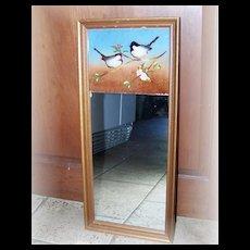 Vintage Reverse Painted Framed Mirror Bird Motif