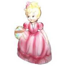 A Charming Little Girl in Pink Dress Carrying Basket Ceramic Figurine JAPAN