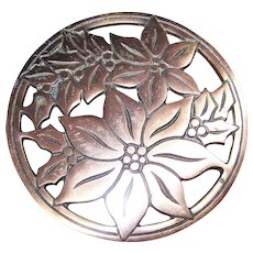 Christmas Trivet Poinsettia Cast Iron Copper Finish Round Heavy Wall Hanging 7""