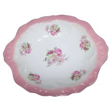Old Foley Staffordshire  Made In England Pink White Red Rose Floral Pattern Bowl