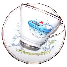 M.V. William Carson Port Aux Basques Tea Cup & Saucer Made in England Exclusively for Canada Railway Co