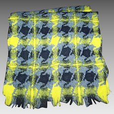 Lochcarron Made in Scotland 100 % Pure Wool Yellow Gray Black Fringed Scarf