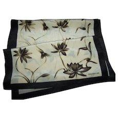 Pretty Designer Signed Jones New York Silk Scarf Long Rectangular Style  Floral Themed