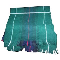 Gently Used Fringed  Plaid Scarf Label States Barney's New York  100 % Acrylic Made in France